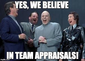 Laughing team appraisal villains meme