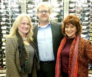 Nancy Alexander, Krister Lowe and me, Deb Nystrom at MSU, East Lansing, Michigan - after lunch and ready for an afternoon meeting with our client.