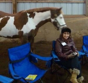 Deb at a winter Horseplay event, FoxBrush Farm, 2012