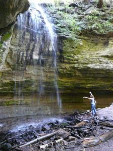 Deb testing out Tannery Falls, one of many in Munising, Michigan, U.P.