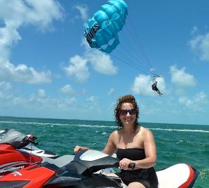 Deb, after parasailing, getting ready for jet skiing, Key West.